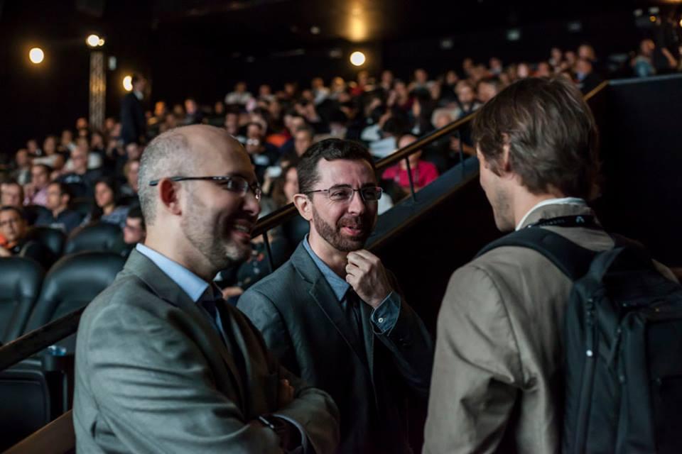 Os diretores da Expocine, Marcelo Lima e Mauri Palos, com Igor Kupstas, da O2Play, na abertura da Expocine 2016.