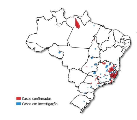 Figura 1. Distribuição geográfica dos casos suspeitos de febre amarela, por município do LPI e classificação. Brasil, 1º de dezembro de 2016 – 25 de maio de 2017 (data do início dos sintomas)