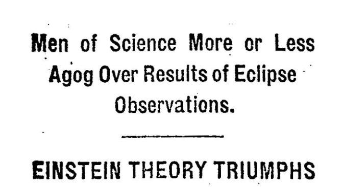 O eclipse de 1919 e as disputas pela ciência