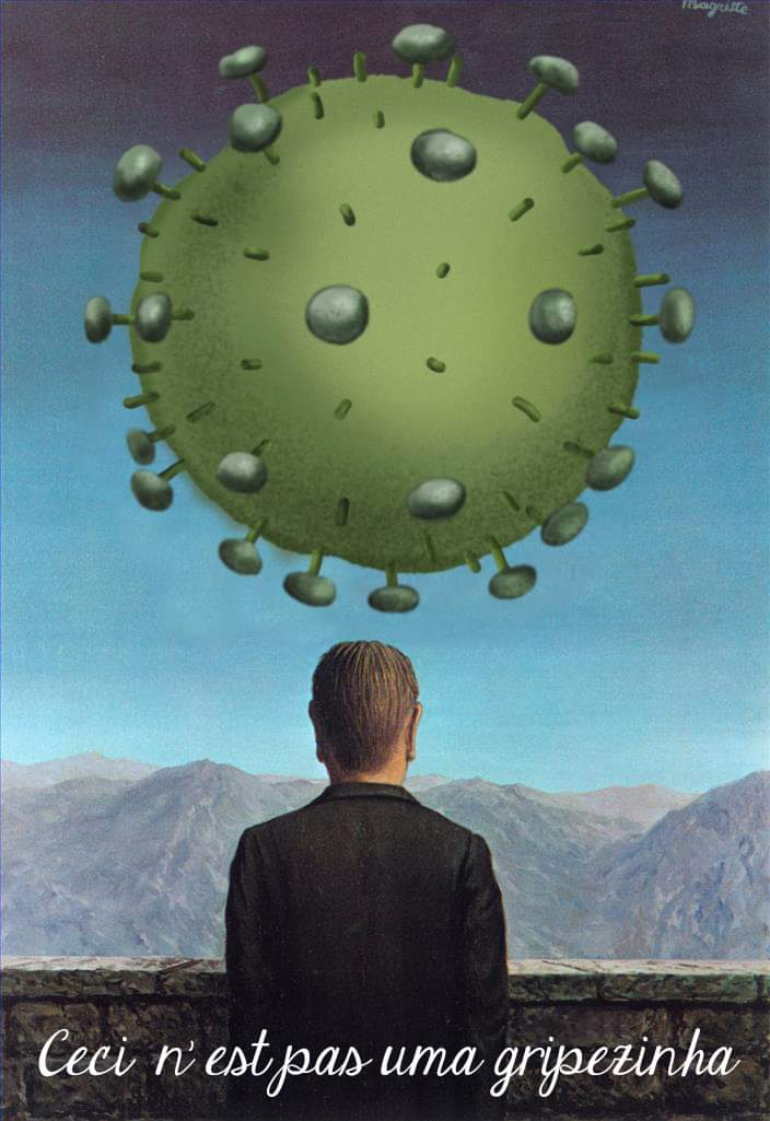 Ilustração de Céllus Marcello Monteiroinstagramcelluscartumtwitter@Cllus1sobre obra de Rene Magritte - O cartão postal (1960)
